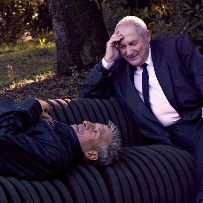 Maurizio Cattelan and Dakis Joannou with Cini Boeri, Seprentone, 1971. Photograph by Pierpaolo Ferrari.