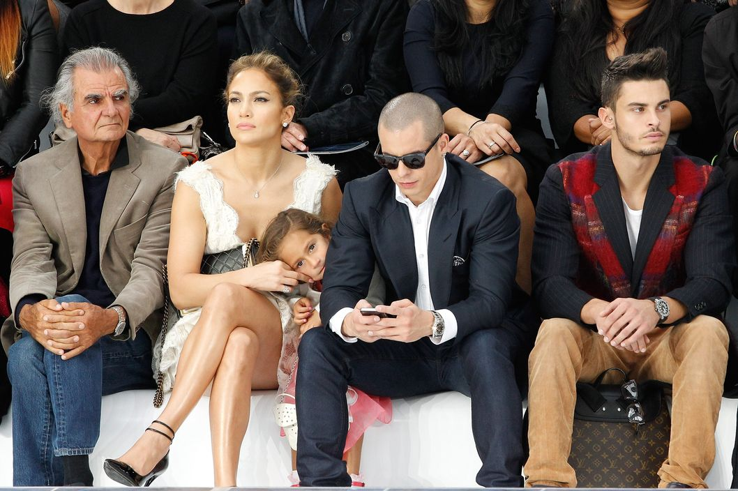 Patrick Demarchelier, Jennifer Lopez, her daughter Emme Maribel Muniz, her boyfriend Casper Smart and Baptiste Giabiconi attend the Chanel Spring / Summer 2013 show as part of Paris Fashion Week at Grand Palais on October 2, 2012 in Paris, France.
