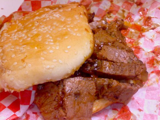 "<a href=""http://holeinthewallbbq.blogspot.com/"">Chuck's Hole in the Wall BBQ</a><br><i>215 James St.; 206-622-8717</i><br>Pit-master Chuck Forsyth opened this place in 1989, and his son John is now at the helmBack when Jonathan Kauffman was a full-time critic at Seattle <em>Weekly</em>, Chuck's Hole in the Wall was his go-to spot. And the go-to dish, according to him and a bevy of loyal Yelpers, is the hickory-smoked brisket from <a href=""http://www.paintedhillsnaturalbeef.com/"">Painted Hills</a>, which comes on a plain sesame bun, and is by all accounts the best in town. And because they firmly believe barbecue is only good when it's fresh out of the smoker, they're only open three hours a day, for lunch only. <br>"