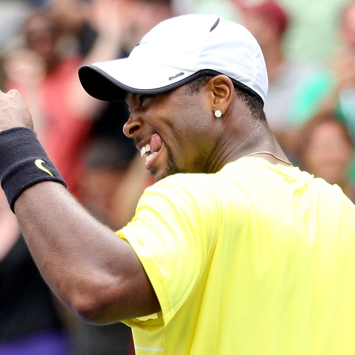 NEW YORK, NY - SEPTEMBER 04: Donald Young of the United States celebrates after defeating Juan Ignacio Chela of Argentina during Day Seven of the 2011 US Open at the USTA Billie Jean King National Tennis Center on September 4, 2011 in the Flushing neighborhood of the Queens borough of New York City. (Photo by Matthew Stockman/Getty Images)