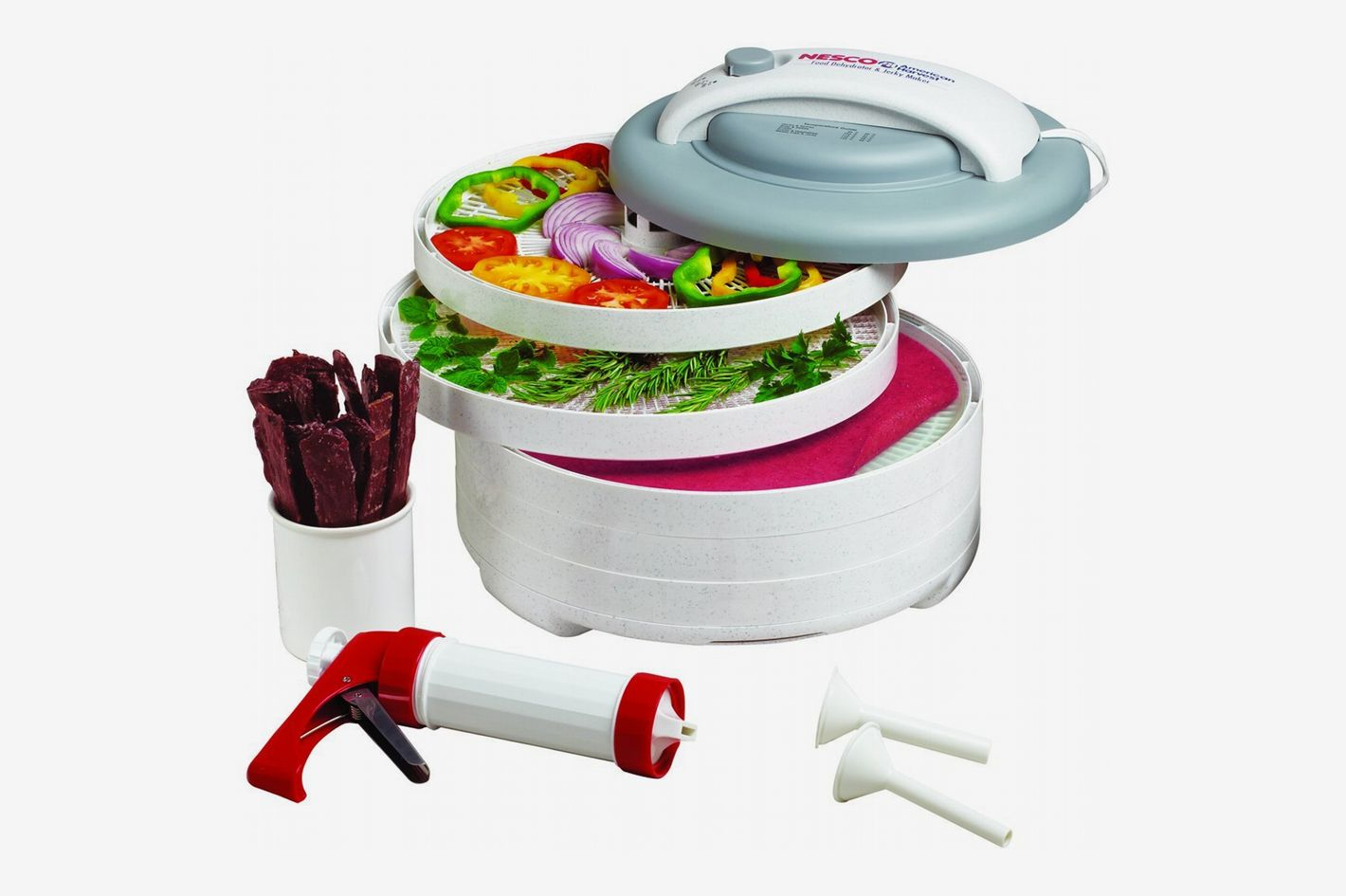 NESCO FD-61WHC, Snackmaster Express Food Dehydrator All-in-One Kit with Jerky Gun