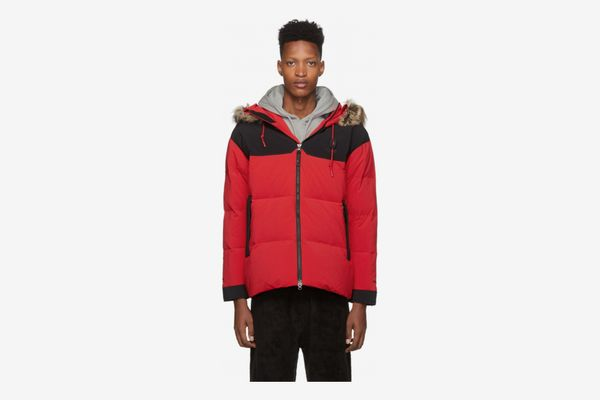 The North Face Red Down Split Hood Parka