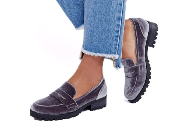 London Rebel Velvet Loafers