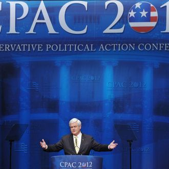 Republican presidential candidate and former House Speaker Newt Gingrich,speaks during an address to the 39th Conservative Political Action Committee February 10, 2012 at a hotel in Washington, DC.