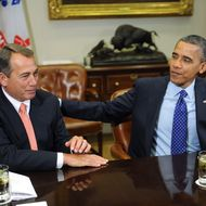 WASHINGTON - NOVEMBER 16:  U.S. President Barack Obama (R) sits with Speaker of the House John Boehner (R-OH) during a meeting with bipartisan group of congressional leaders in the Roosevelt Room of the White House on November 16, 2012 in Washington, DC. Obama and congressional leaders of both parties are meeting to reportedly discuss deficit reduction before the tax increases and automatic spending cuts go into affect in the new year.  (Photo by Olivier Douliery-Pool/Getty Images)