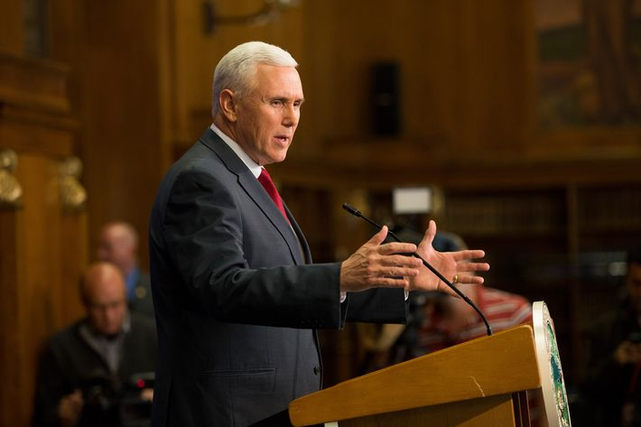 U.S. Rep. Mike Pence (R-IN) holds a press conference March 31, 2015 at the Indiana State Library in Indianapolis, Indiana. Pence spoke about the state's controversial Religious Freedom Restoration Act which has been condemned by business leaders and Democrats.  (Photo by Aaron P. Bernstein/Getty Images)
