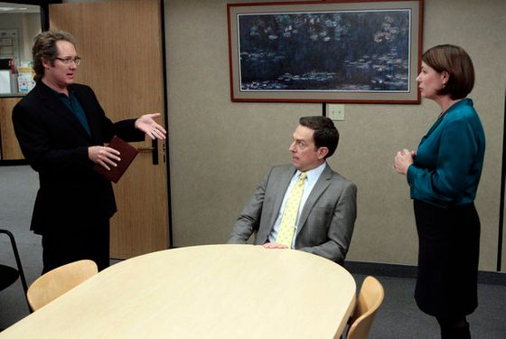 "THE OFFICE -- ""Mrs. California"" Episode 809 -- Pictured: (l-r) James Spader as Robert California, Ed Helms as Andy Bernard, Maura Tierney as Susan California -- Photo by: Chris Haston/NBC"
