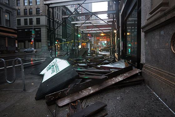 Collapsed scaffolding from above a Starbucks in lower Manhattan.