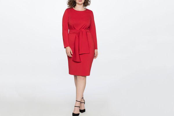 Eloquii Long Sleeve Scuba Dress with Tie