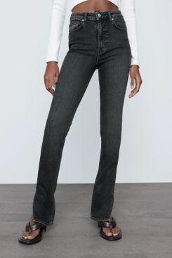 Zara High Rise Split Skinny Jeans