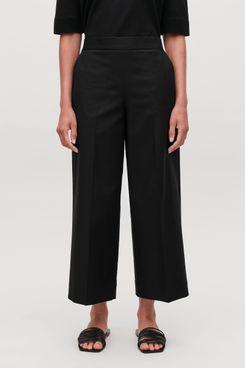 Wide-Leg Pressfold Trousers