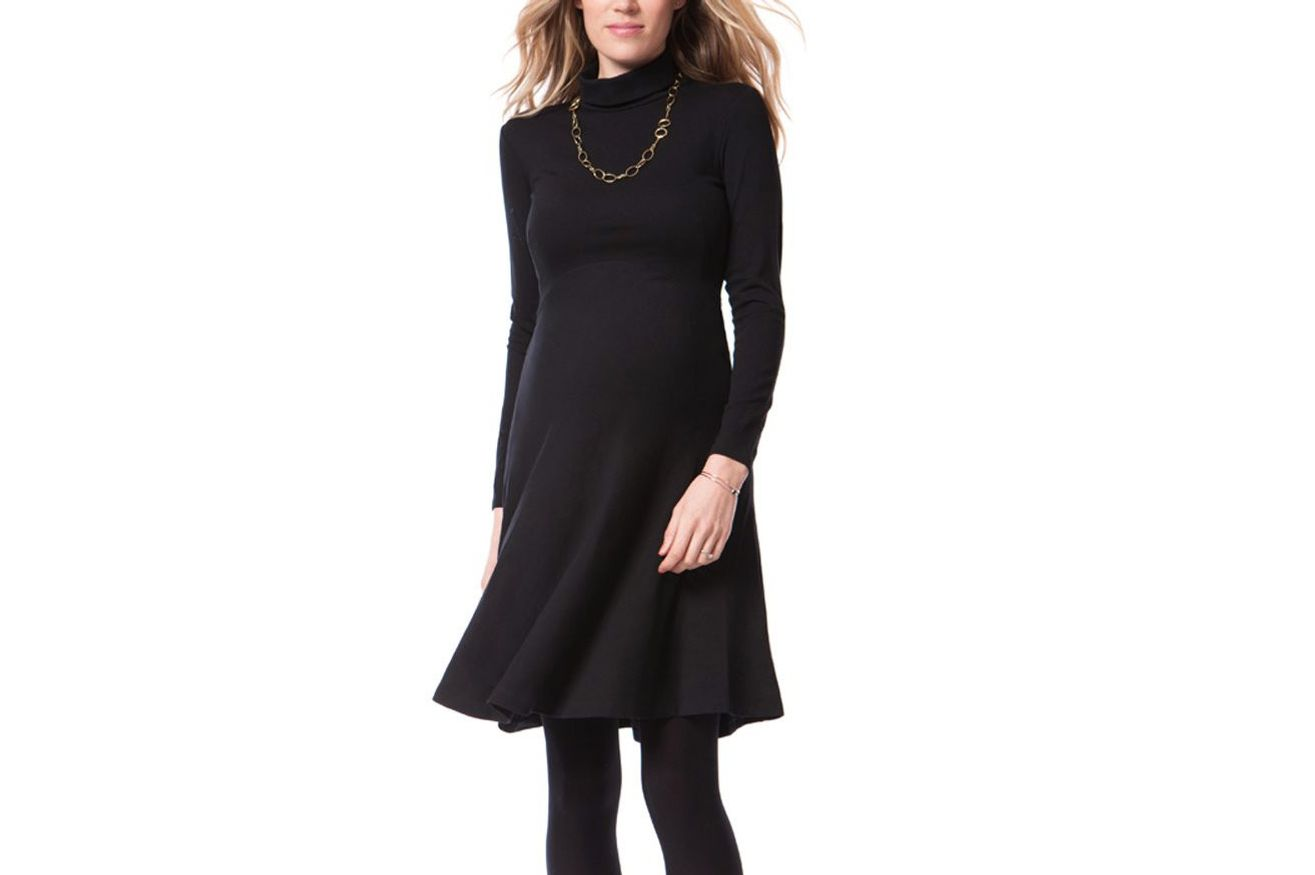 ed1992404cd Séraphine Vanessa Turtleneck Black Maternity Dress. ""