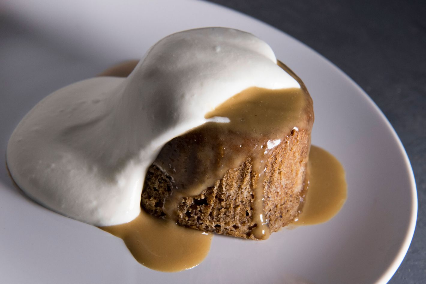 For dessert: sticky date bread pudding with Earl Grey toffee and lemon whipped cream.