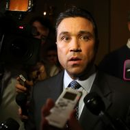 U.S. Rep. Michael Grimm (R-NY) speaks to the media prior to a meeting regarding the Sandy aid bill with Speaker of the House Rep. John Boehner (R-OH) January 2, 2013 on Capitol Hill in Washington, DC. The House Republican leadership was criticized for not acting on the Senate passed legislation for Hurricane Sandy disaster aid.