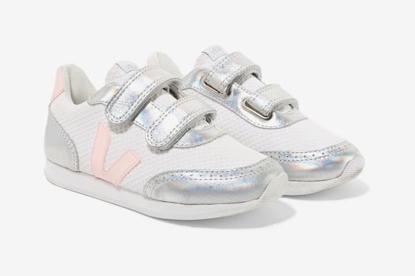 Veja Kids Arcade Mesh and Iridescent Leather Sneakers