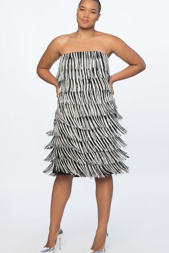 Eloquii Fringe Strapless Dress
