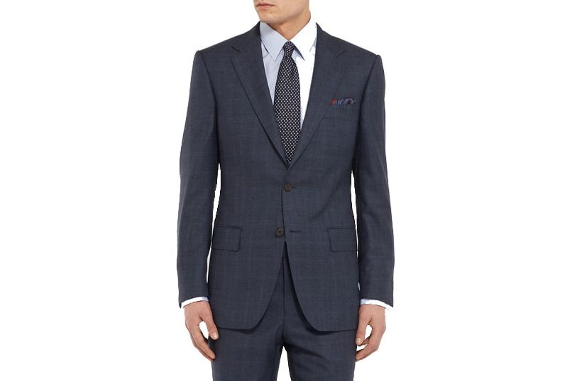 Gieves & Hawkes Navy Slim-Fit Checked Wool Suit Jacket