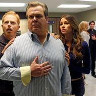 "MODERN FAMILY - ""Baby on Board"" - It's been an up-and-down emotional roller coaster for Mitch and Cam in their quest to adopt another child. Their latest ride has them bringing Gloria in tow as a translator, leaving Jay and Manny to look after Lily, who has a big dance recital coming up. Meanwhile Claire and Phil have a proud parenting moment when they send Alex off to her first prom, but then that is quickly marred with Haley's shocking news of her future plans, on the Season Finale of ""Modern Family,"" WEDNESDAY, MAY 23 (9:00-9:31 p.m., ET), on the ABC Television Network. (ABC/PETER ""HOPPER"" STONE) JESSE TYLER FERGUSON, ERIC STONESTREET, SOFIA VERGARA, CHRISTINA OCHOA, EDWARD FINLAY, LINDA ELENA TOVAR"