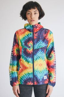 Herschel Packable Windbreaker in Rainbow Tie Dye
