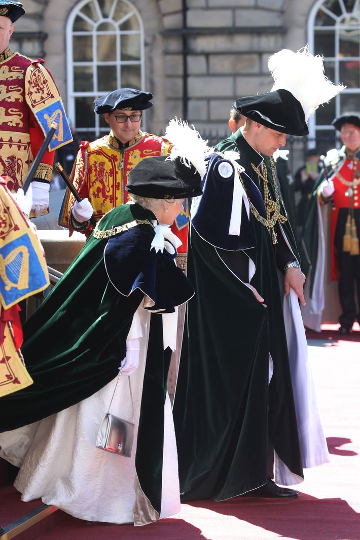 Queen Elizabeth and Prince William.