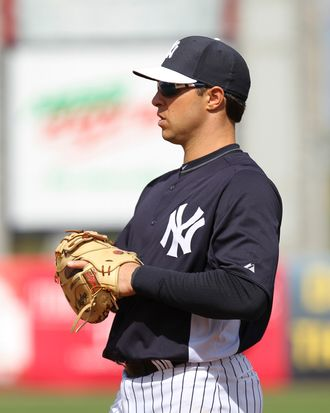 02 March 2013: Yankees first baseman Mark Teixeira (25) during the spring training game between the Detroit Tigers and New York Yankees at George M. Steinbrenner Field in Tampa, FL.