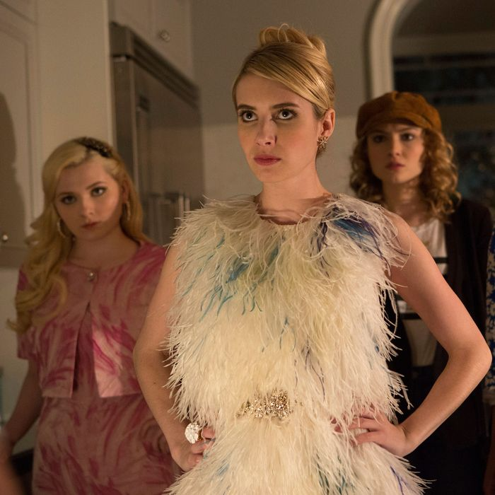 SCREAM QUEENS: Pictured L-R: Abigail Breslin as Chanel #5, Emma Roberts as Chanel Oberlin, Skyler Samuels as Grace, Keke Palmer as Zayday and Jeanna Han as Sam in