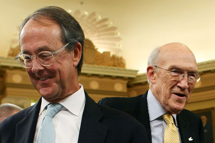 Co-chairmen of the National Commission on Fiscal Responsibility and Reform, former Sen. Alan Simpson, (R-WY)(R), and Erskine Bowles (L)