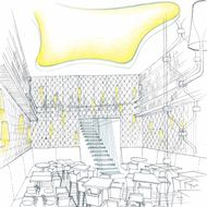 A rendering of the dining room.