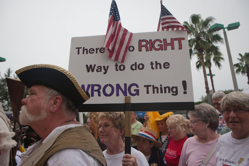 August 26, 2012, Tampa Florida, members of the Tea Party at the Tea Party's Unity Rally preceding the RNC encouraging supporters to vote for the Romney ticket.
