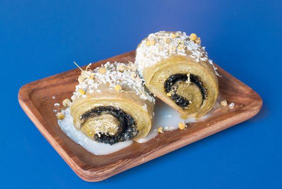 Matcha black-sesame sweet bun, lemon glaze, coconut, chamomile.
