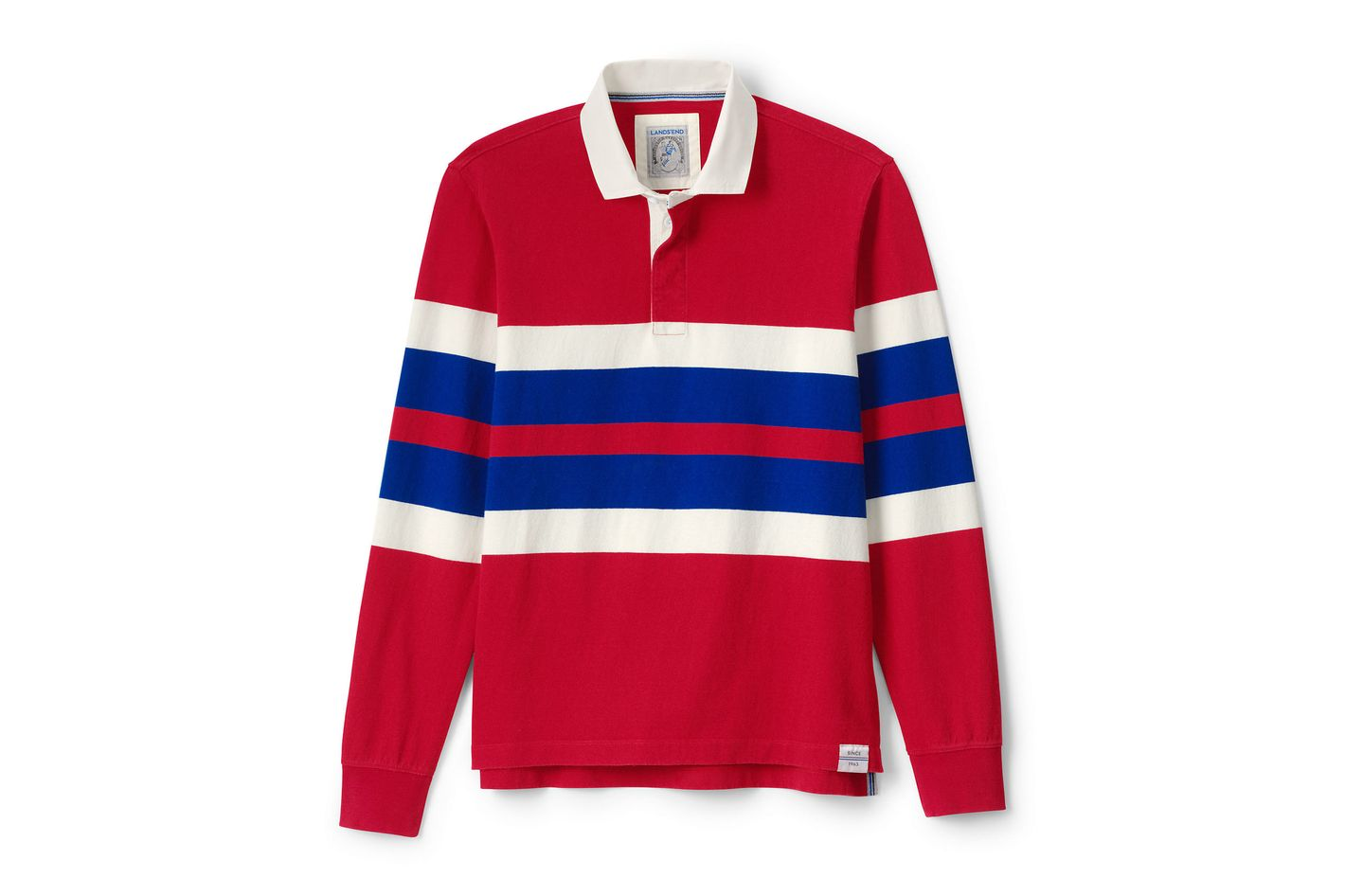 Lands' End Men's Long Sleeve Stripe Rugby Shirt