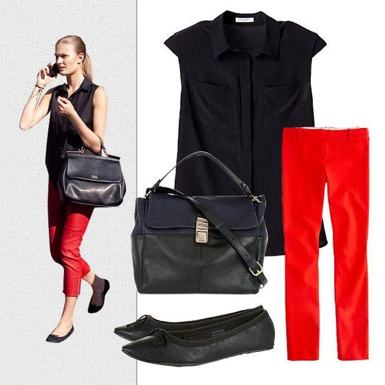 "Equipment Brady blouse, $188 at <a href=""http://www.equipmentfr.com/clothing/brady-black"">Equipment</a>; J.Crew Minnie pant in stretch twill, $89.50 at <a href=""http://www.jcrew.com/womens_category/pants/minnie/PRDOVR~18850/18850.jsp"">J.Crew</a>; Topshop Valley black pointed ballets, $32 at <a href=""http://us.topshop.com/webapp/wcs/stores/servlet/ProductDisplay?beginIndex=0&viewAllFlag=&catalogId=33060&storeId=13052&productId=5936812&langId=-1&sort_field=Relevance&categoryId=208694&parent_categoryId=208581&pageSize=20&refinements=category~[210019