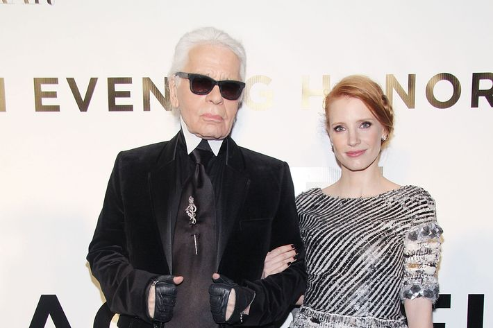 Karl Lagerfeld and Jessica Chastain.