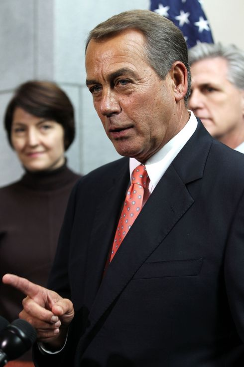 WASHINGTON, DC - DECEMBER 16:  U.S. Speaker of the House Rep. John Boehner (R-OH) (C) speaks as Rep. Cathy McMorris Rodgers (R-WA) and House Majority Whip Rep. Kevin McCarthy (R-CA) listen during a media availability after a Republican Conference meeting December 16, 2011 on Capitol Hill in Washington, DC. The congressional Republicans and Democrats have reached a deal on the omnibus spending bill to avoid a government shutdown.  Both the House and the Senate are expected to pass the bill today.  (Photo by Alex Wong/Getty Images)