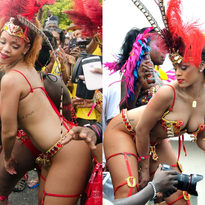 Rihanna, cover girl for the Shape issue of 'Vogue', at the Kadooment Day parade in Barbados yesterday.