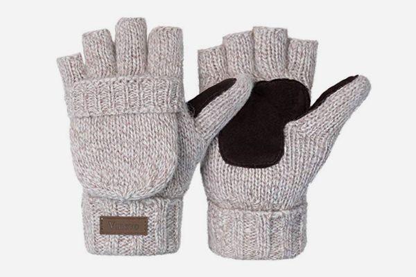 ViGrace Winter Knitted Fingerless Gloves Convertible Wool Mittens