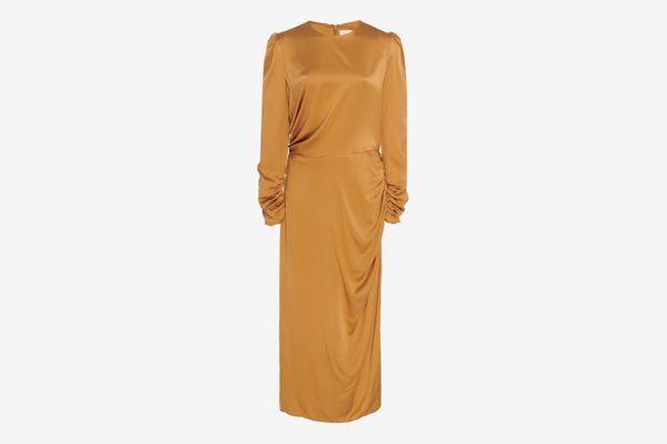 Zimmerman Exclusive Ruched Silk Midi Dress