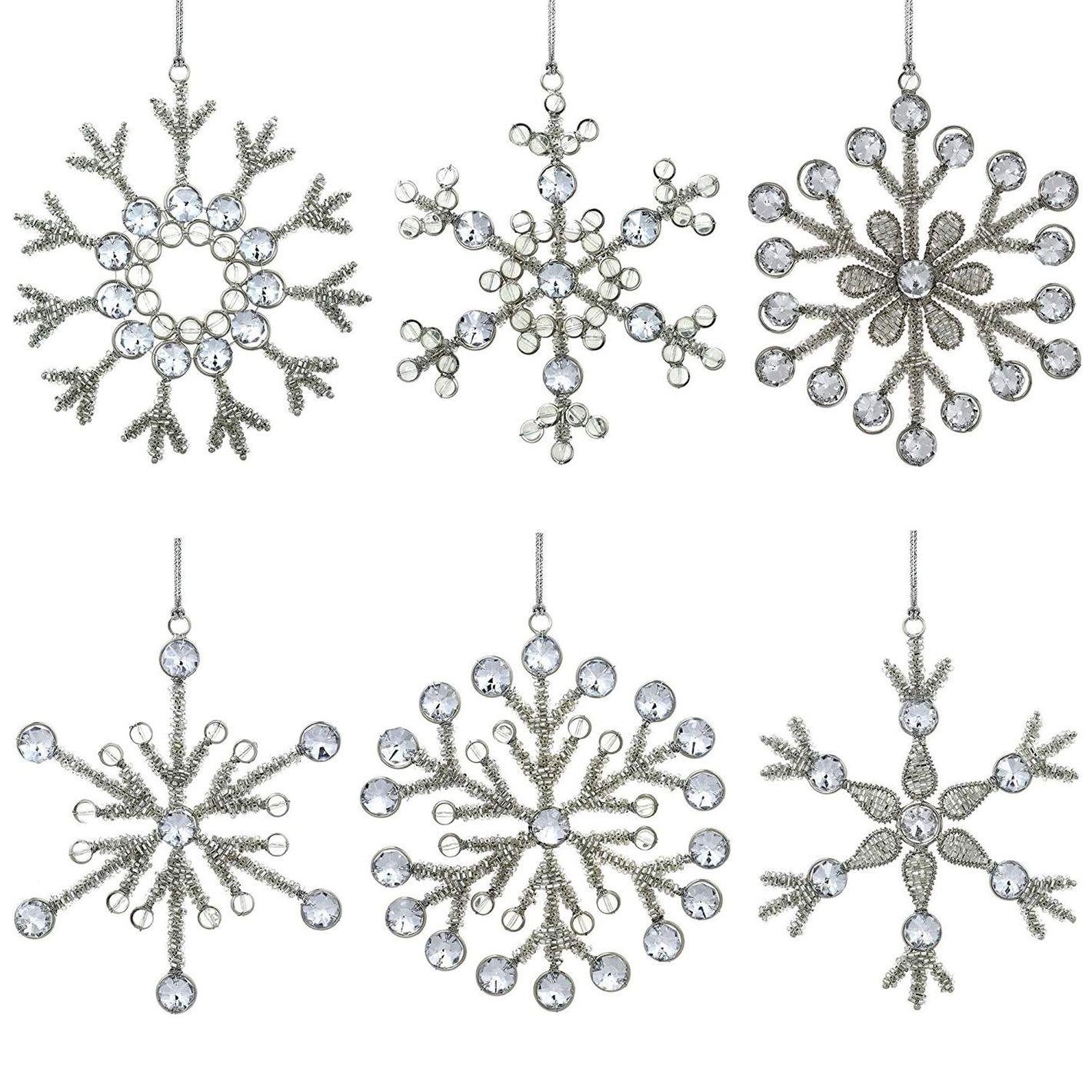 ShalinIndia Set of 6 Handmade Snowflake Iron and Glass Pendant Christmas Ornaments