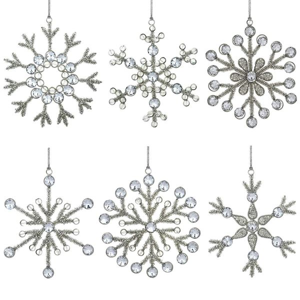 ShalinIndia Set of 6 Handmade Snowflake Iron and Glass Pendant Christmas Ornaments