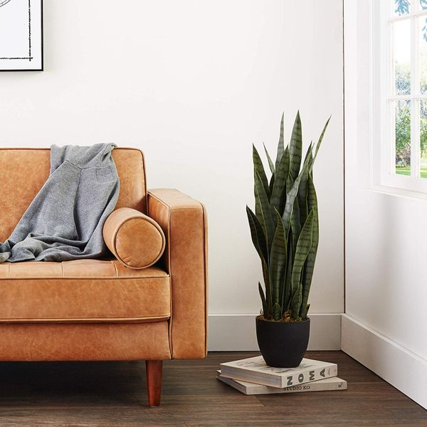 Nearly Natural Sansevieria Snake Plant with Black Planter