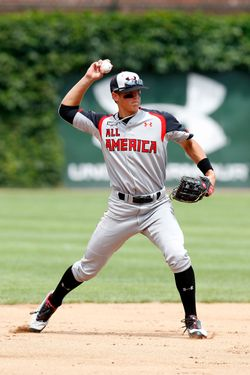 Shortstop Gavin Cecchini #2 during the Under Armour All-American Game at Wrigley Field on August 13, 2011 in Chicago, Illinois.