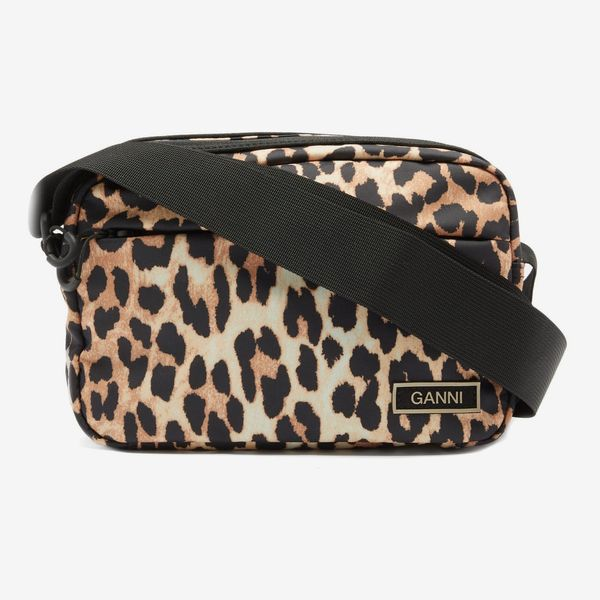 Ganni Leopard-Print Recycled-Shell Crossbody Bag