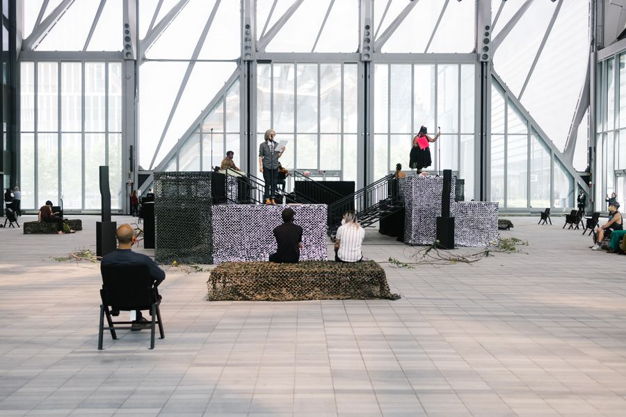 Performance by Precious Okoyomon (on platform, far right), who won this year's Frieze Artist Award.
