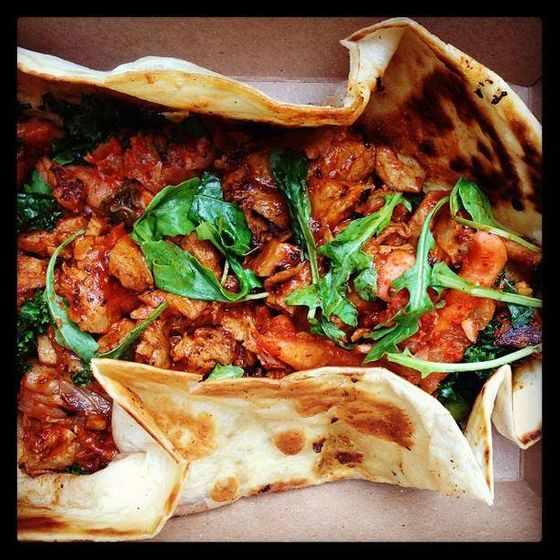 Korean-barbecue seitan, served on a grilled tortilla with chile butter, kimchi, and greens.