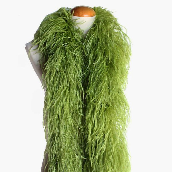 Olive Green Ostrich Feather Boa