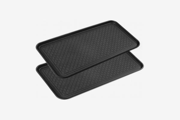 "California Home Goods Multi Purpose Black Boot Tray (30"" x 15""), 2-Pack"