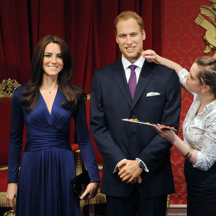 New wax figures of Prince William, Duke of Cambridge and Catherine, Duchess of Cambridge are being revealed at Madame Tussauds on April 4, 2012 in London, England.