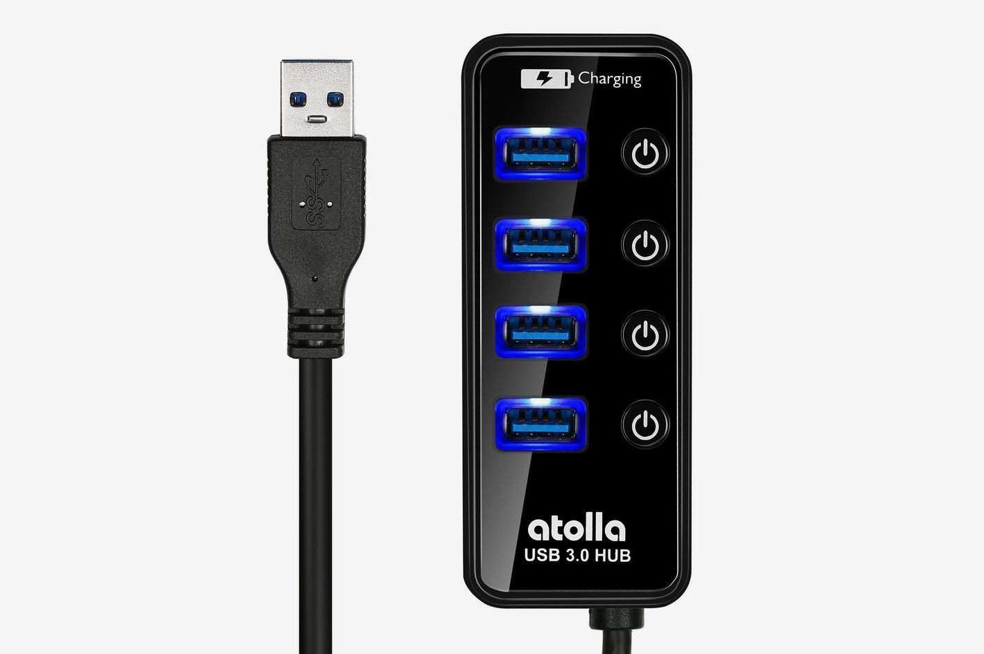 Atolla 4 Ports Super Speed USB 3 Hub Splitter With On Off Switch With 1 USB Charging Port