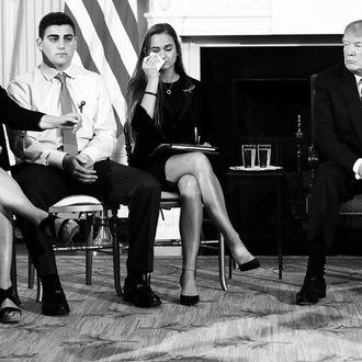 President Donald Trump hosting a listening session with Marjory Stoneman Douglas High School shooting survivors.
