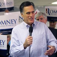 LIVONIA, MI - FEBRUARY 28:  Republican presidential candidate and former Massachussetts Gov. Mitt Romney speaks during a press availability following a visit to his Michigan campaign headquarters on February 28, 2012 in Livonia, Michigan. Romney visted his Michigan campaign headquarters an primary day as Michigan residents go to the polls to vote for their choice in the Republican presidential race.  (Photo by Justin Sullivan/Getty Images)